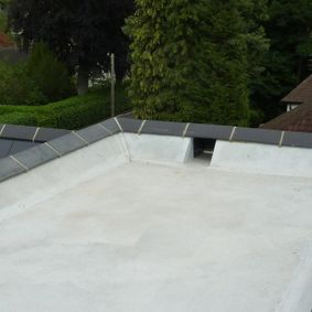 Completed asphalt roof done by our team